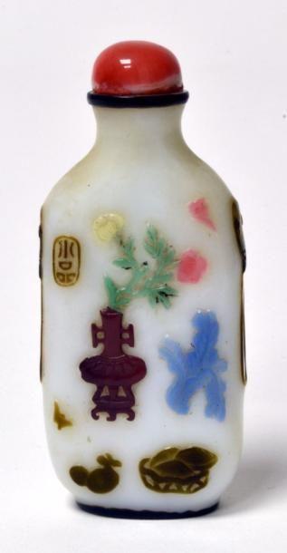 CHINE - XIXe siècle Flacon tabatière rectangulaire...