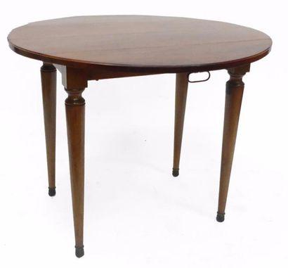 TABLE ronde en acajou et placage d'acajou,...