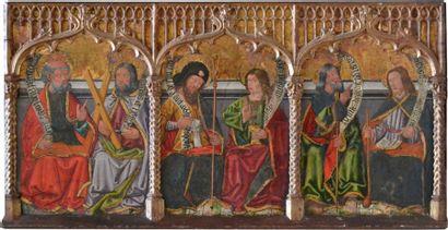 ECOLE d'ARAGON fin XVe SIX SAINTS (Saint...