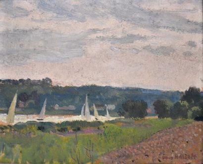 Willem VAN HASSELT (1882-1963) Régate à Morsang-sur-Seine....