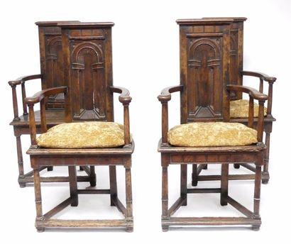 Rare suite de quatre CAQUETOIRES ou fauteuils...