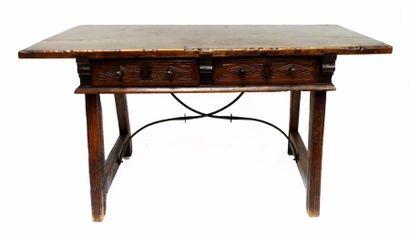 TABLE en bois naturel, le piétement réunis...