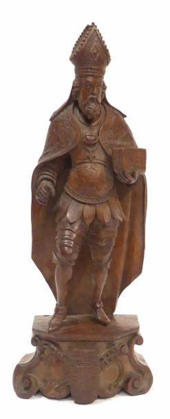 SUJET en bois sculpté, Saint évêque barbu...