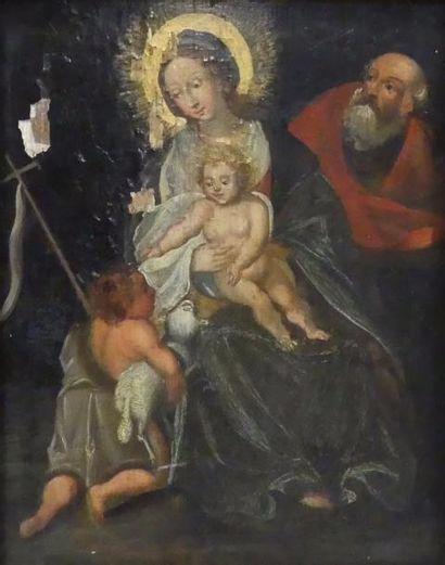 Ecole flamande XVIIe. Vierge à l'Enfant avec...