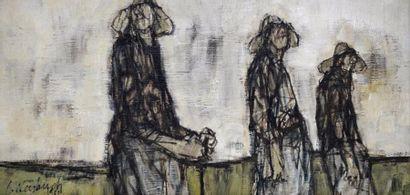 Claude WEISBUCH (1927-2014) Trois paysannes, 1959. Huile sur toile signée et datée...