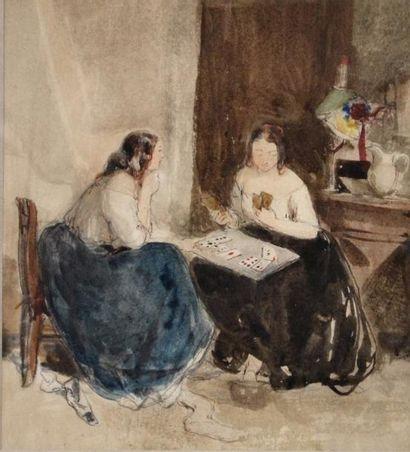 Ecole française XIXe. Les joueuses de cartes....