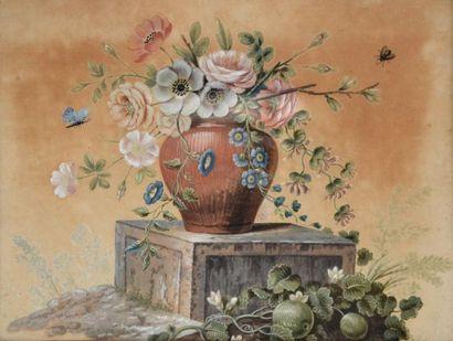 Ecole française XVIIIe-XIXe. Vase de fleurs...
