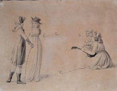 Ecole française début XIXe. Couple d'élégants...