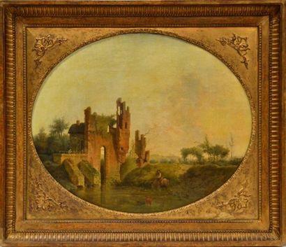 Ecole française XIXe. Paysan et chien dans un paysage de ruine. Huile sur toile....