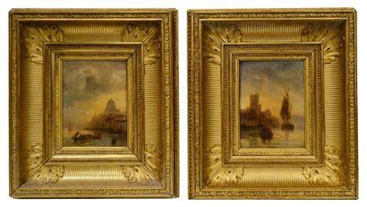 Luigi MION (c. 1850-c.1920). Gondole à Venise et port animé au crépuscule. Paire...