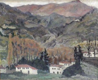 Othon COUBINE (1883-1969) Village en montagne....