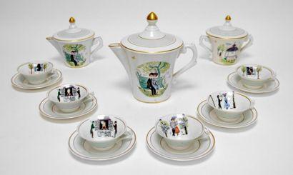 SERVICE à café, les amants de Peynet en porcelaine...