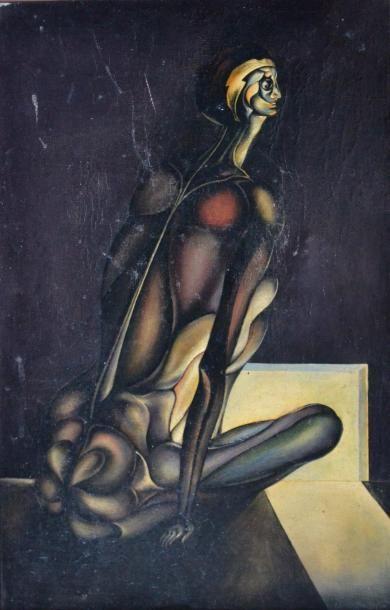 Ecole du XXe. La captive. Huile sur toile...
