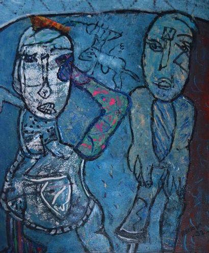 RAMON (1937) Deux personnages. huile sur...