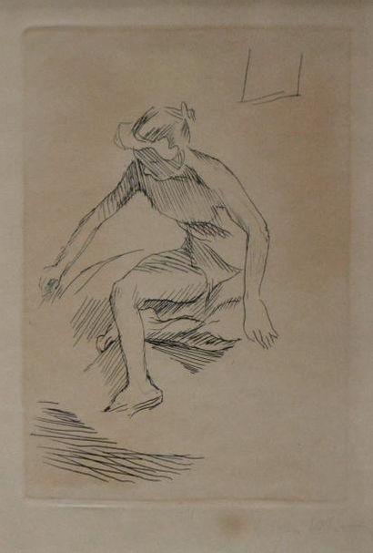 Jacques VILLON (1875-1963) Nu sortant du...