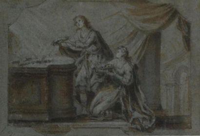 Ecole du XVIIIe. Deux femmes portant des...