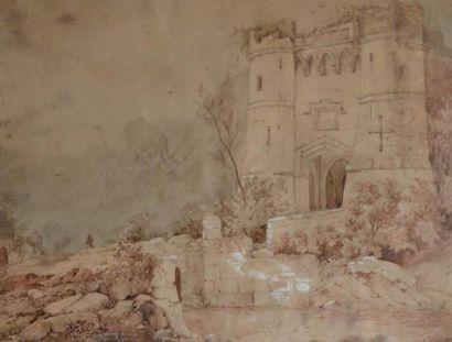 Ecole du XIXe. Promeneur près d'un Château...
