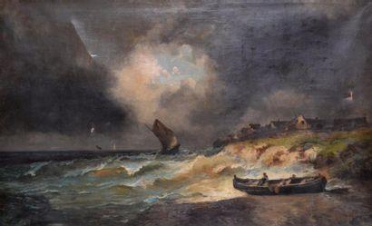 Alfred GODCHAUX (1835-1895) Voiliers en mer...
