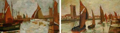 Pierre JANAY (1872-1935) Voiliers au port....