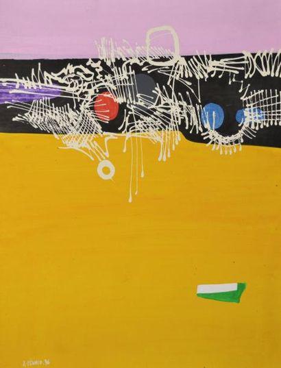 Xavier ZEVACO (1925-2004) composition jaune...
