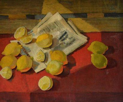 Louis WAGNER (1918-1981) Citrons et journal...