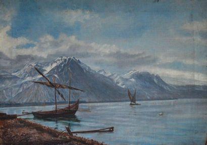 Ecole XIXe-XXe. Voiliers sur le lac Léman....