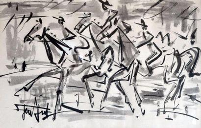 GEN PAUL (1895-1975) Trois cavaliers. Encre...