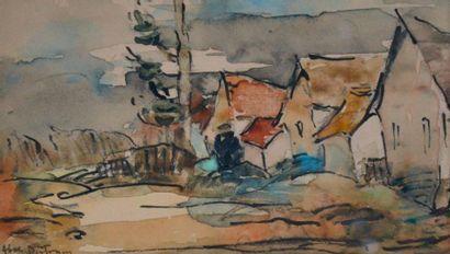 Abel BERTRAM (1871-1954) Rue de village....