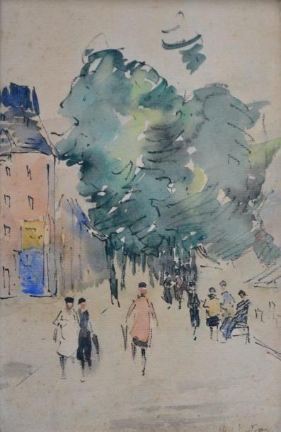 Abel BERTRAM (1871-1954) Promeneurs en ville....