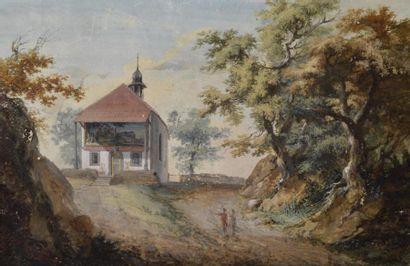 Ecole suisse XIXe. Chapelle où Guillaume...