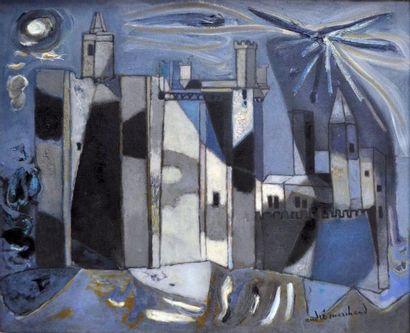 André MARCHAND (1907-1997) La lune à Uzès....