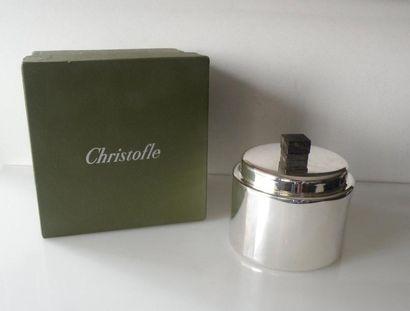 CHRISTOFLE. BOITE cylindrique en métal argenté,...