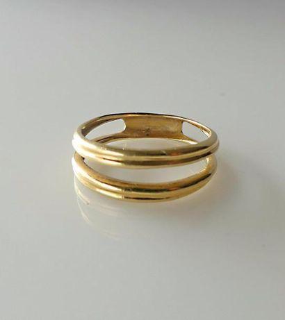 BAGUE anneau double en or jaune. Poids 3,2...