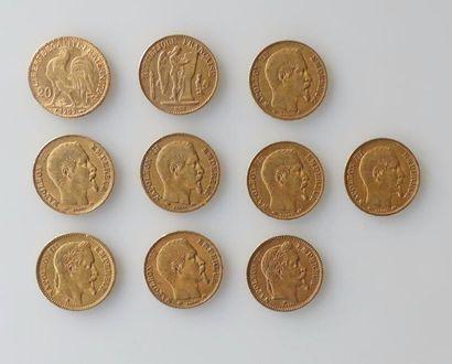 DIX PIECES de 20 francs or