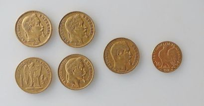 CINQ PIECES de 20 francs or et UNE PIECE...