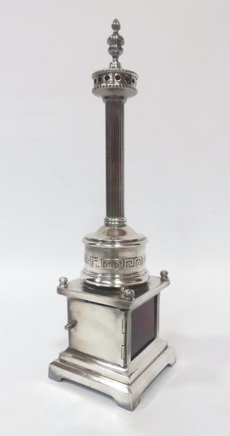 Curieux BRÛLE-PARFUM en métal argenté et...