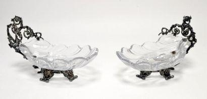 Paire de COQUILLES en cristal et métal argenté,...