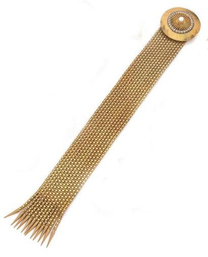 Large BRACELET ruban en or jaune, à douze...