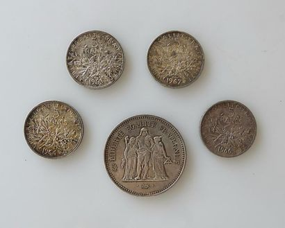 PIECE de 50 francs Hercule et et quatre PIECES...