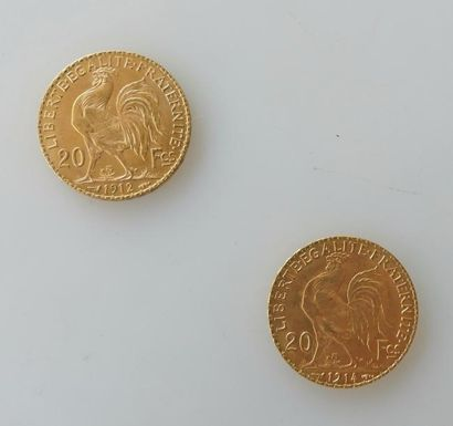 Deux PIECES de 20 francs or, 1912 et 1914....