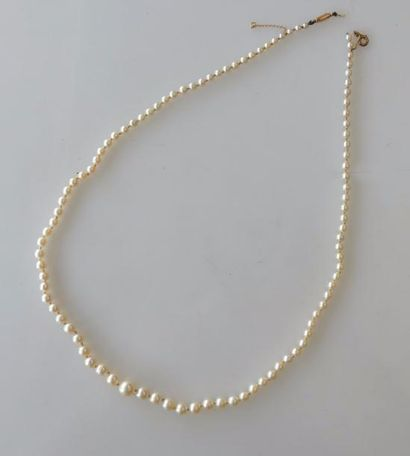 COLLIER de perles de culture en chute. fermoir...