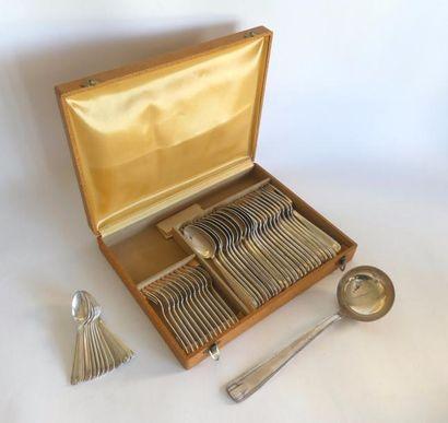 *MENAGERE en métal argenté, style Art Déco,...
