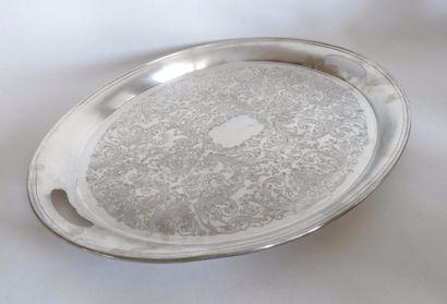 CHRISTOFLE. PLATEAU ovale en métal argenté,...