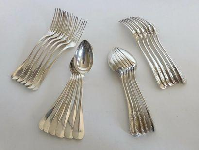 CHRISTOFLE. Douze COUVERTS en métal argenté,...