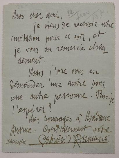 ANNUNZIO (Gabriele d') poète, écrivain et...