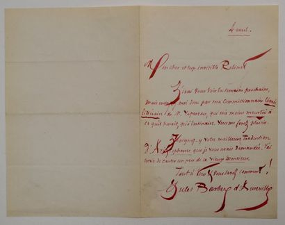 BARBEY D'AUREVILLY (Jules) écrivain français...