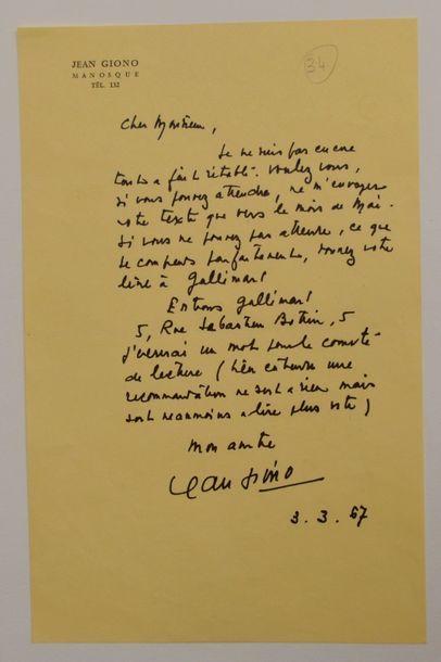 GIONO (Jean) écrivain français (1895-1970)...