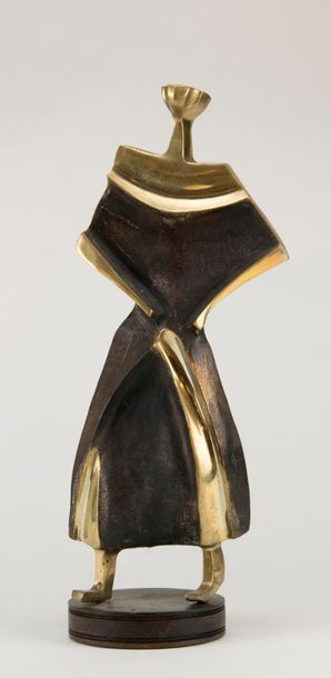 Wanda LLS (Artiste africain XXe siècle). Ensemble de trois bronzes: couple et volatile....