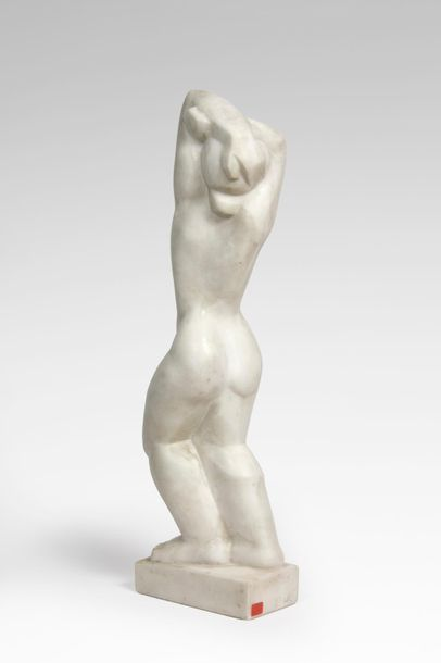 """Bela VÖRÖS (1899-1983) """"Woman with raised arms"""", 1926. White marble sculpture. Direct..."""