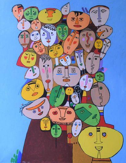 """André MATHIAU (1933-2013). """"Foule"""". Octobre 1991. Acrylique sur toile signée et..."""